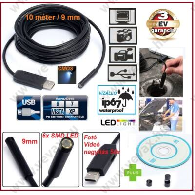 10 méter / 9 mm USB ENDOSZKÓP KAMERA CMOS OBJEKTÍV IP67 VÍZÁLLÓ 6x SMD LED FOTÓ / VIDEÓ 50x NAGYÍTÁS 3 év GARANCIA