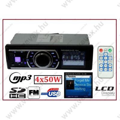 """ProInstrument 4x50W AUTÓRÁDIÓ MP3 USB FEJEGYSÉG MP4 WMA SD AUX MPX PLL TFT LCD 1,8"""" TÁVIRÁNYÍTÓVAL 3 év GARANCIA"""