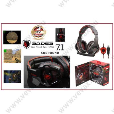 SADES 7.1 Surround GAME FEJHALLGATÓ USB HEADSET MIKROFONNAL PC / Online JÁTÉKOSOKNAK 3m kábellel 3 év GARANCIA