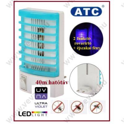 ATC 40m2 UV LED ELEKTROMOS ROVARCSAPDA KONNEKTOROS UV-A ROVARÍRTÓ SZÚNYOGÍRTÓ ROVARÖLŐ LED ÉJSZAKAI FÉNY LÁMPA 2 év GARANCIA