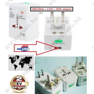 UNIVERZÁLIS USB töltő + 110V - 240V VILÁG UTAZÓ ADAPTER DUGVILLA 150 országba 2 év GARANCIA