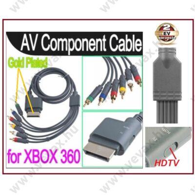 XBOX 360 KOMPONENS KÁBEL TV / HDTV / AV ARANYOZOTT 1080p 2 év GARANCIA