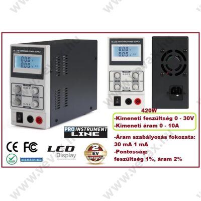ProInstrument STABILIZÁLT LABORTÁPEGYSÉG 0-30V 0-10A 420W SZABÁLYOZHATÓ DIGITÁLIS 2 soros LCD 2 év GARANCIA