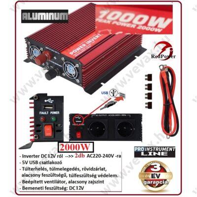 ProInstrument RedPower 12V -ról >> 2db 230V -ra + USB 2000W / 1000W FESZÜLTSÉGÁTALAKÍTÓ INVERTER AUTÓS ÁRAMÁTALAKÍTÓ 12/230V KONVERTER 1 év GARANCIA