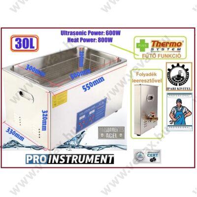 *ProInstrument DigitaL40K INOX Heating IPARI 30 Literes 600W ULTRAHANGOS TISZTÍTÓ GÉP + MELEGÍTŐ FUNKCIÓVAL HŐFOKSZABÁLYZÓS DIGITÁLIS MOSÓ 5 programos
