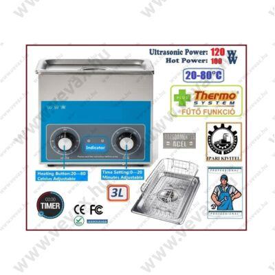 ProInstrument AnA40K INOX Heating IPARI 3 Literes 120W ULTRAHANGOS TISZTÍTÓ GÉP + MELEGÍTŐ FUNKCIÓVAL 20-80°C HŐFOKSZABÁLYZÓS MOSÓ