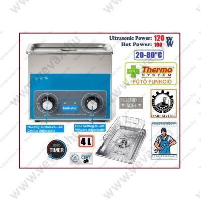 ProInstrument AnA40K INOX Heating IPARI 4 Literes 120W ULTRAHANGOS TISZTÍTÓ GÉP + MELEGÍTŐ FUNKCIÓVAL 20-80°C HŐFOKSZABÁLYZÓS MOSÓ