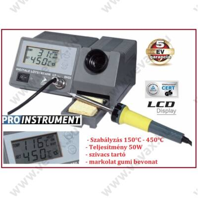 ProInstrument DIGITÁLIS FORRASZTÓÁLLOMÁS 50W 150-450°C 230/24V FORRASZTÓPÁKA ÁLLOMÁS SZABÁLYOZHATÓ 2 soros LCD KIJELZŐVEL 5 év GARANCIA