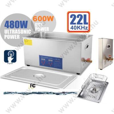 ProInstrument DigitaL40K INOX Heating IPARI 22 Literes 480W ULTRAHANGOS TISZTÍTÓ GÉP + MELEGÍTŐ FUNKCIÓVAL 20-80°C HŐFOKSZABÁLYZÓS 22L DIGITÁLIS MOSÓ