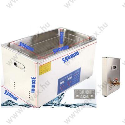 ProInstrument DigitaL40K INOX Heating IPARI 30 Literes 600W ULTRAHANGOS TISZTÍTÓ GÉP + MELEGÍTŐ FUNKCIÓVAL HŐFOKSZABÁLYZÓS DIGITÁLIS MOSÓ 5 programos