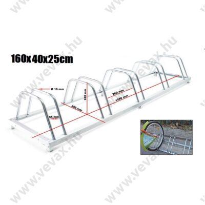 Galvanizált kerékpártartó állvány 5 darab biciklihez