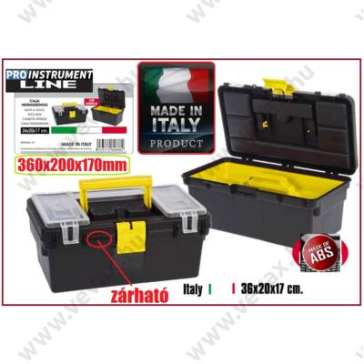 ProInstrument ABS Tool ZÁRHATÓ SZERSZÁMOSLÁDA 4 rekeszes 360x200x170mm MADE IN ITALY SZERSZÁMOSTÁSKA